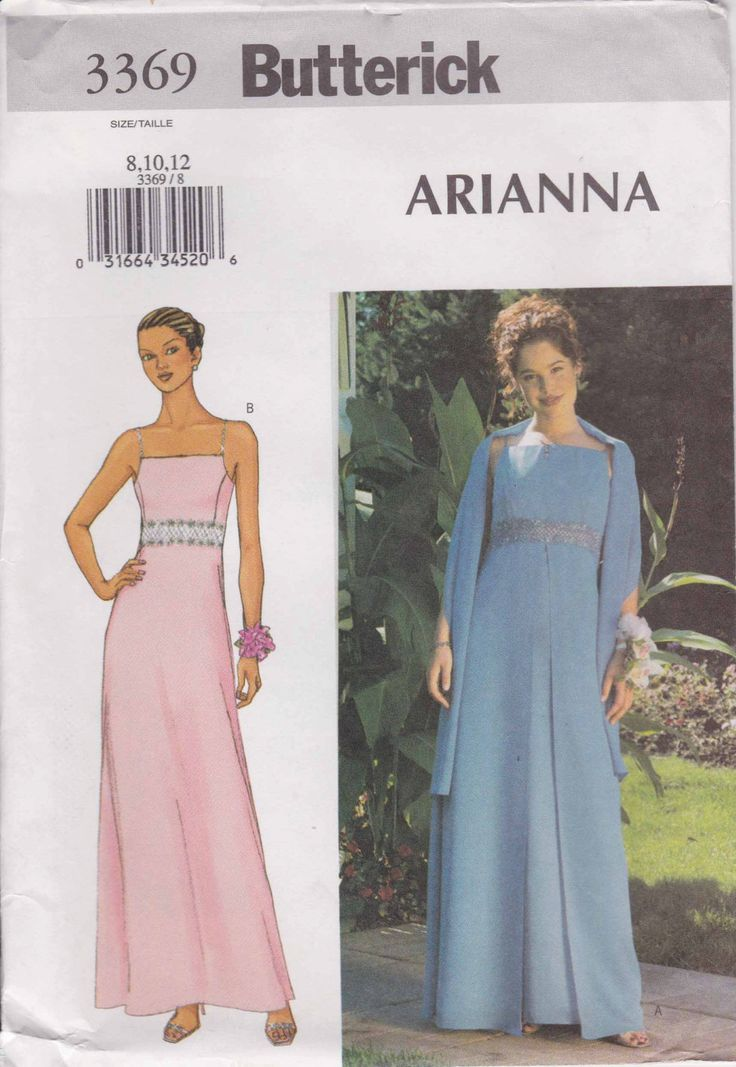 Formal Dress Pattern Prom Dress Evening Gown Pattern Long Dress  Size 8 - 12  Butterick 3369 by PrettyfulPatterns on Etsy