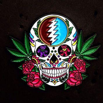 Grateful dead pin, sugar skull, pot leaf, dancing bear, hat pin More