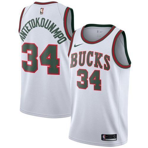 buy popular 74529 ce5b2 Nike Bucks #34 Giannis Antetokounmpo White Throwback ...