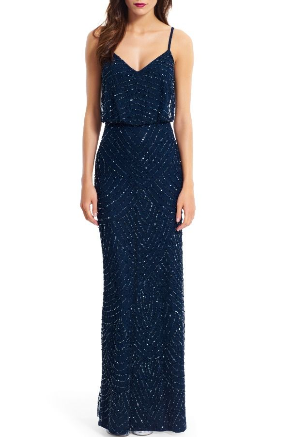 Adrianna Papell Sequin Embellished Blouson Gown Navy Ink blue Rent: $85 Sale: $159 (MSRP $280)
