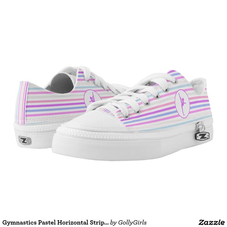 Gymnastics Pastel Horizontal Stripes Printed Shoes - Gymnastics lo-top shoes with horizontal stripes in purple, green, blue, peach, pink, and white. It also has a large circle with a purple gymnast silhouette. ©gollygirls.com