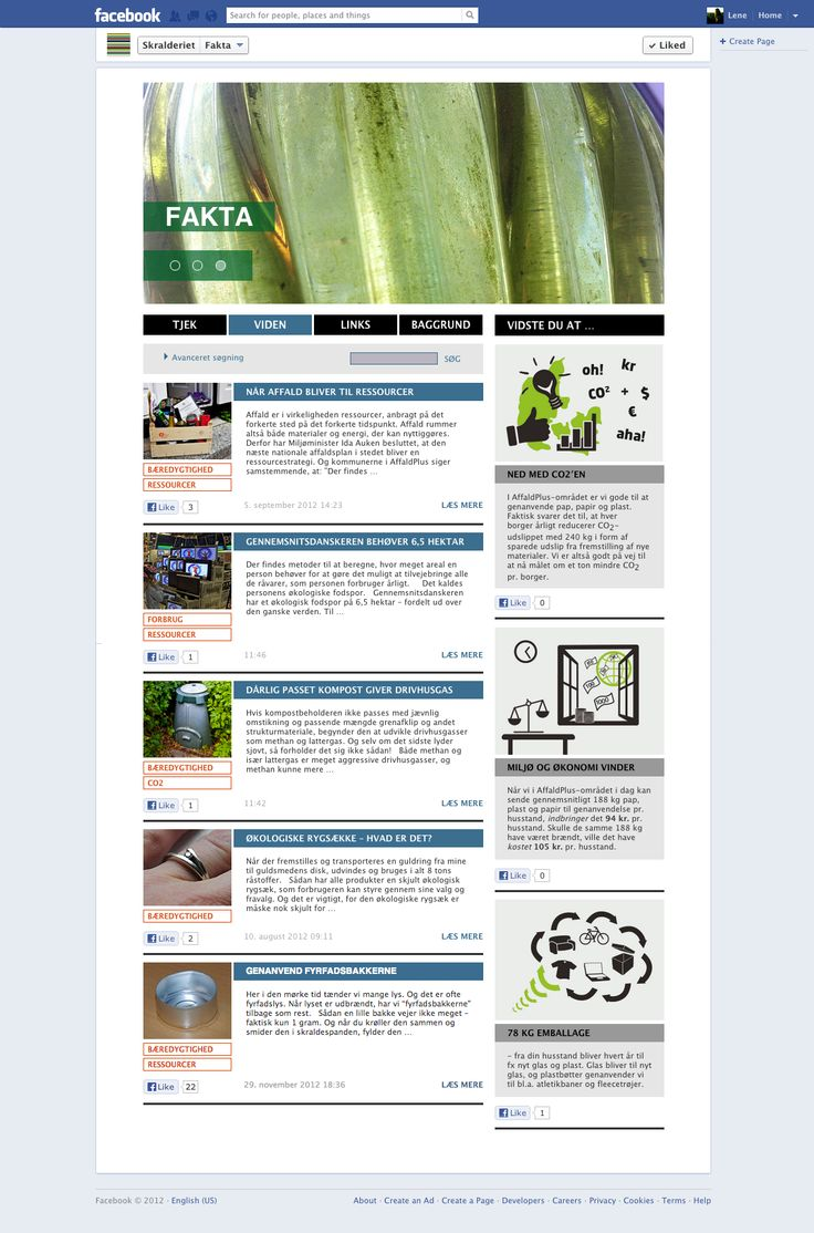Faktasiden på Facebook. Her deler Affald Plus deres viden om fakta i genbrugs- og affaldsuniverset. Statistikker og nye målinger bringes her med artikler og illustrerede faktabokse.