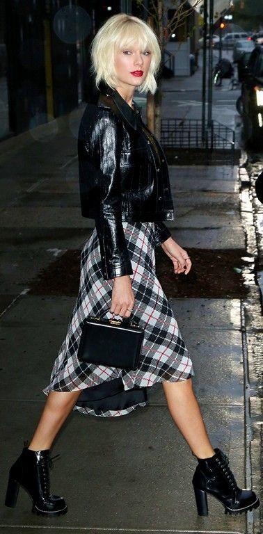 Taylor Swift ; Heading out clubbing, New York, May 2016 ; Louis Vuitton jacket, Louis Vuitton dress, Louis Vuitton shoes, Mark Cross bag & Melissa Kaye ring