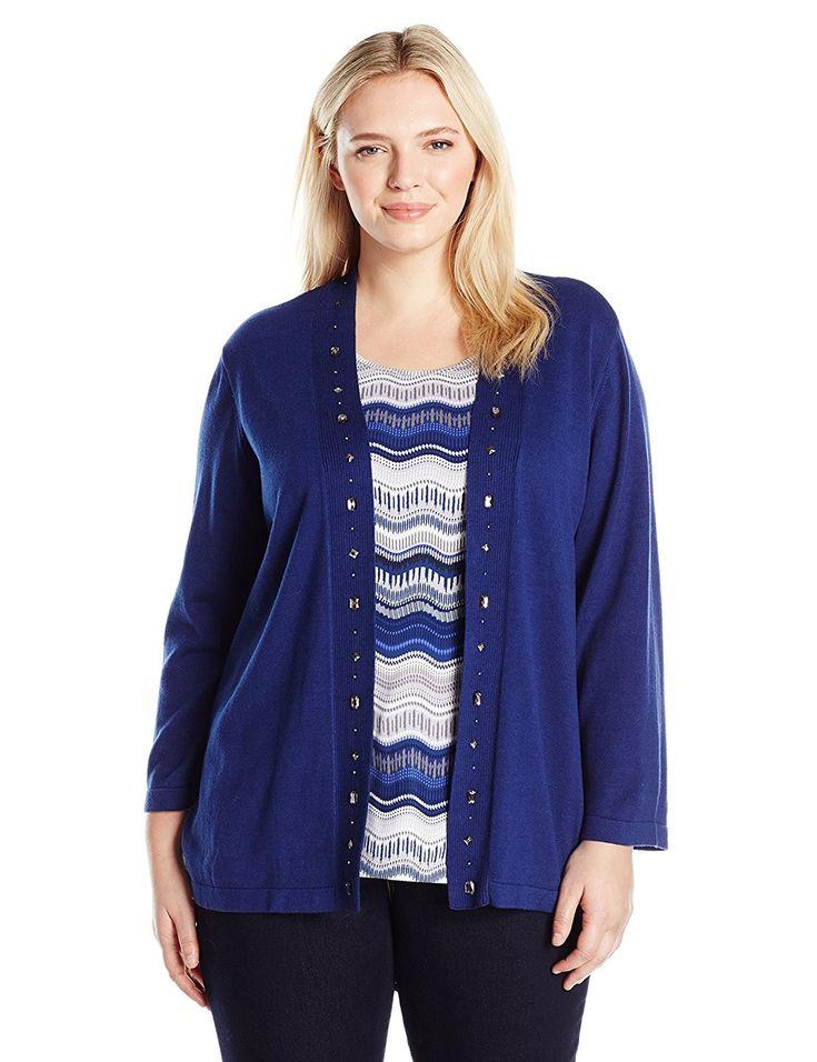 Women's Plus Size Sapphire Twofer Sweater and Tank – Shapphire – CU12MXP1XVS