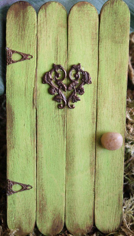 Antiqued Green Wooden Fairy Garden Door by FairyFrenzee on Etsy