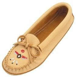 Men's and ladies Moosehide moccasins in natural colour