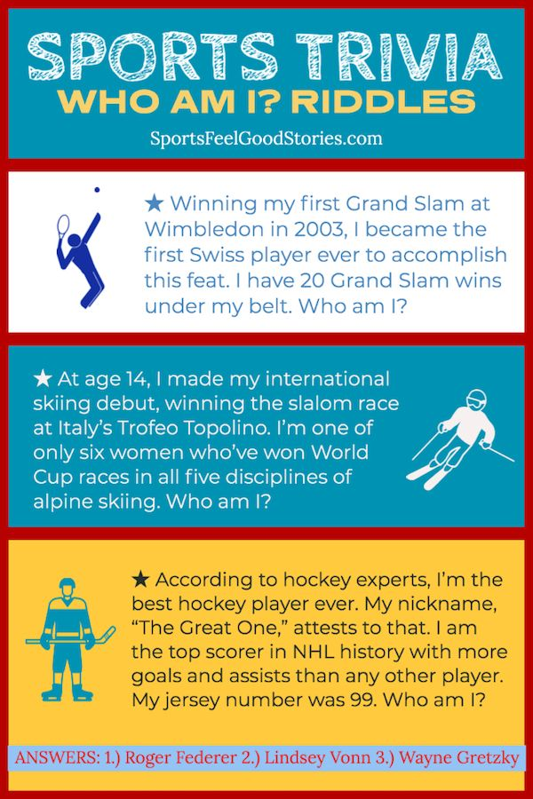 Sports Trivia Questions Quiz Who Am I Riddles Sports Feel Good Sports Trivia Questions Trivia Trivia Questions