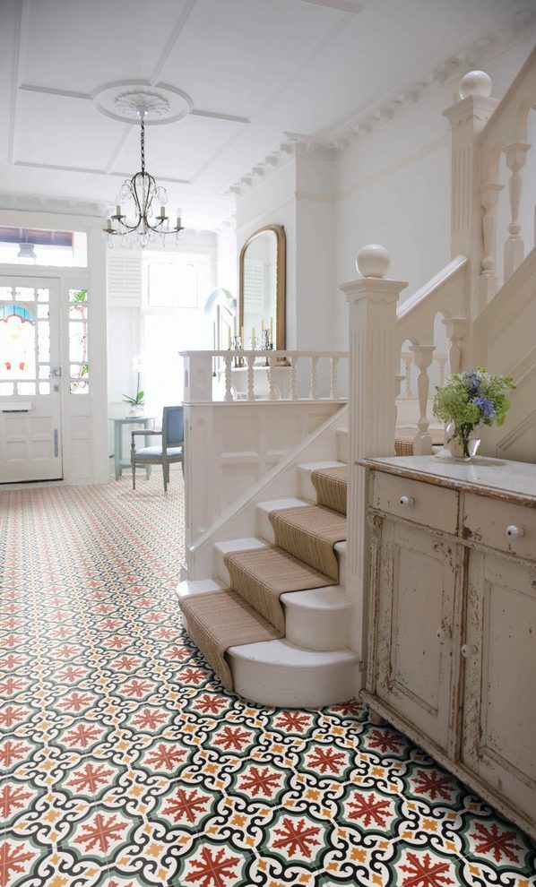 victorian hallway ideas hall with colourful floor tiles