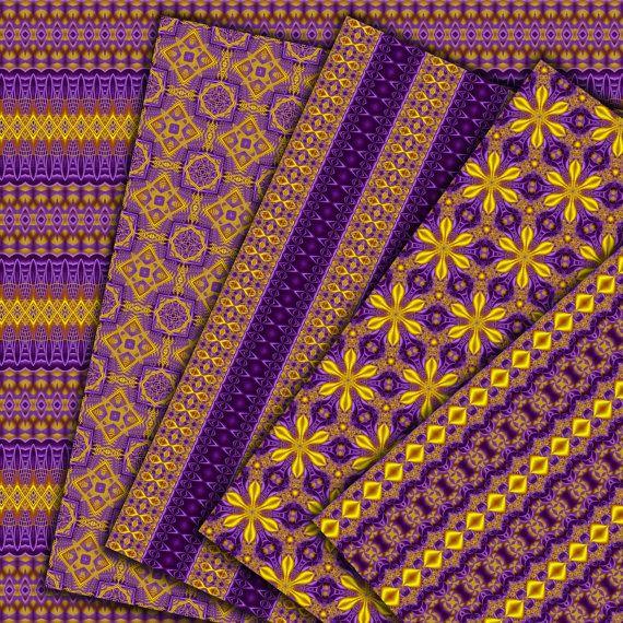 Paarse digitale papier: Paars en goud Oosterse