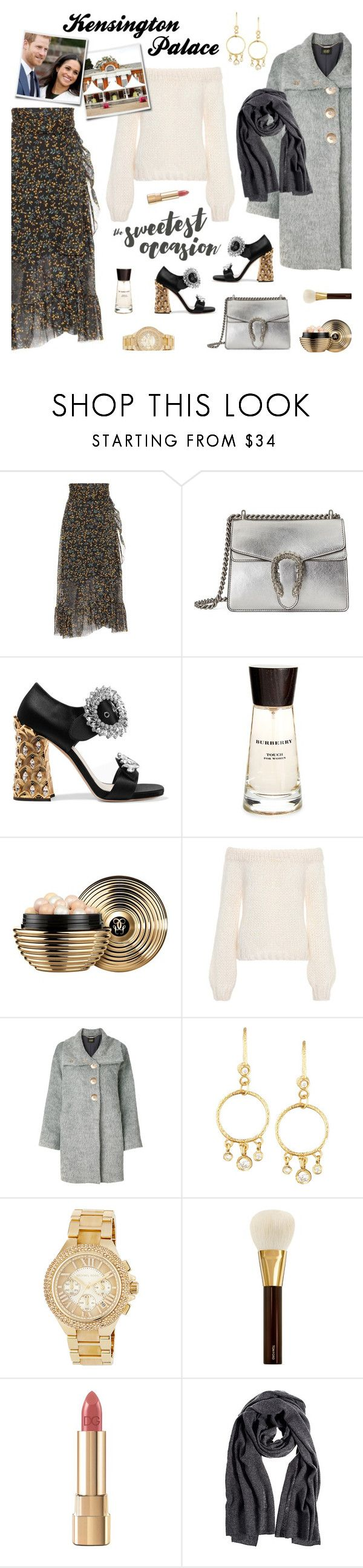 """""""Kensington Palace Travel Outfit"""" by sproetje ❤ liked on Polyvore featuring Ganni, Gucci, Miu Miu, Burberry, Guerlain, LIU•JO, Dominique Cohen, MICHAEL Michael Kors, Tom Ford and Dolce&Gabbana"""
