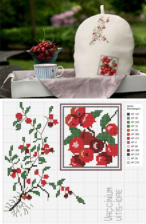 Wonderful pattern for #Cowberry or #Lingonberry (crossstitch)... July. http://www.hendesverden.dk/uploadDK/hendes-verden/Uge_27_13/Broderi/Juli_Tyttebaer.pdf