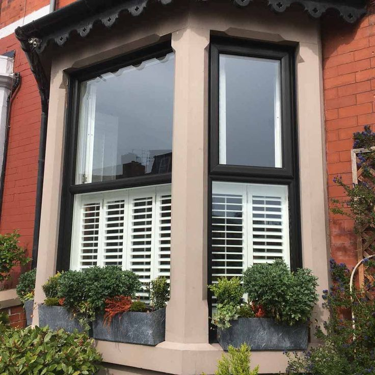 Tier on Tier Three Sided Bay Window Shutters Absolute in