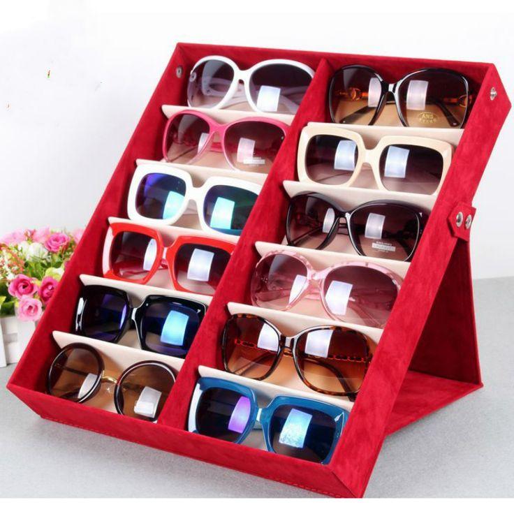Óculos de qualidade caixa de armazenamento de 12 grade deerskin Caixa Organizador caixa de exibição óculos de sol Óculos De Sol Óculos de Uso De Armazenamento de 12 Compartimento em Ciaxas de armazenamento & lixo de Home & Garden no AliExpress.com | Alibaba Group