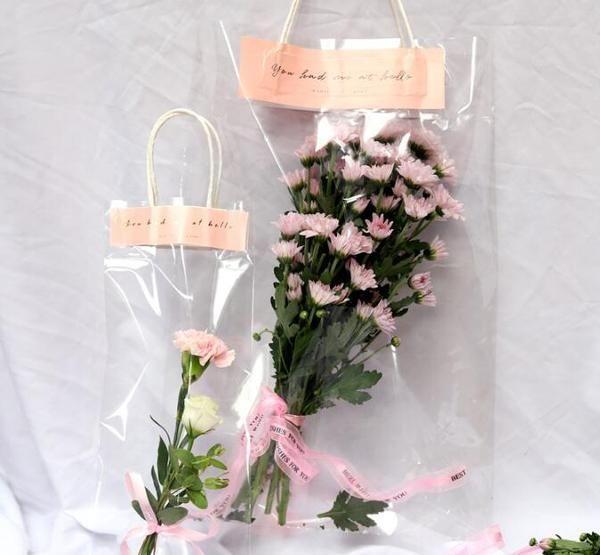 Transparent Pvc Flower Bags With Handles Bouquet Florist Packaging