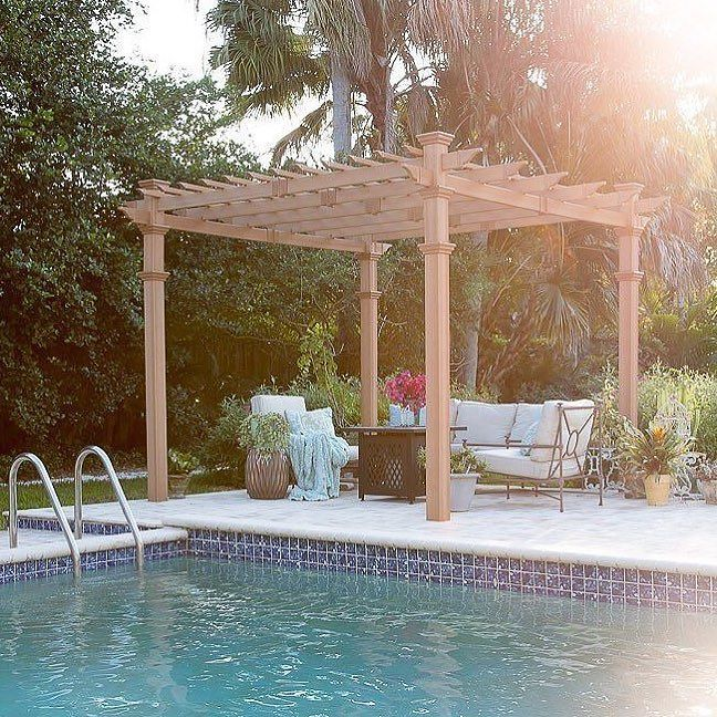 Pergola perfection! To shop this poolside paradise by @shabbyfufu, head over to the link in our profile. #regram #HayneedleHome #fortheloveofhome