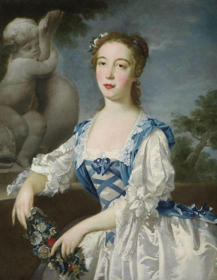 Jacobite fashion.  Perhaps the Hon. Anne, eldest daughter of Sir Jacob de Bouverie, 1st Viscount Folkestone  ca. 1740-45  Bartholomew Dandridge
