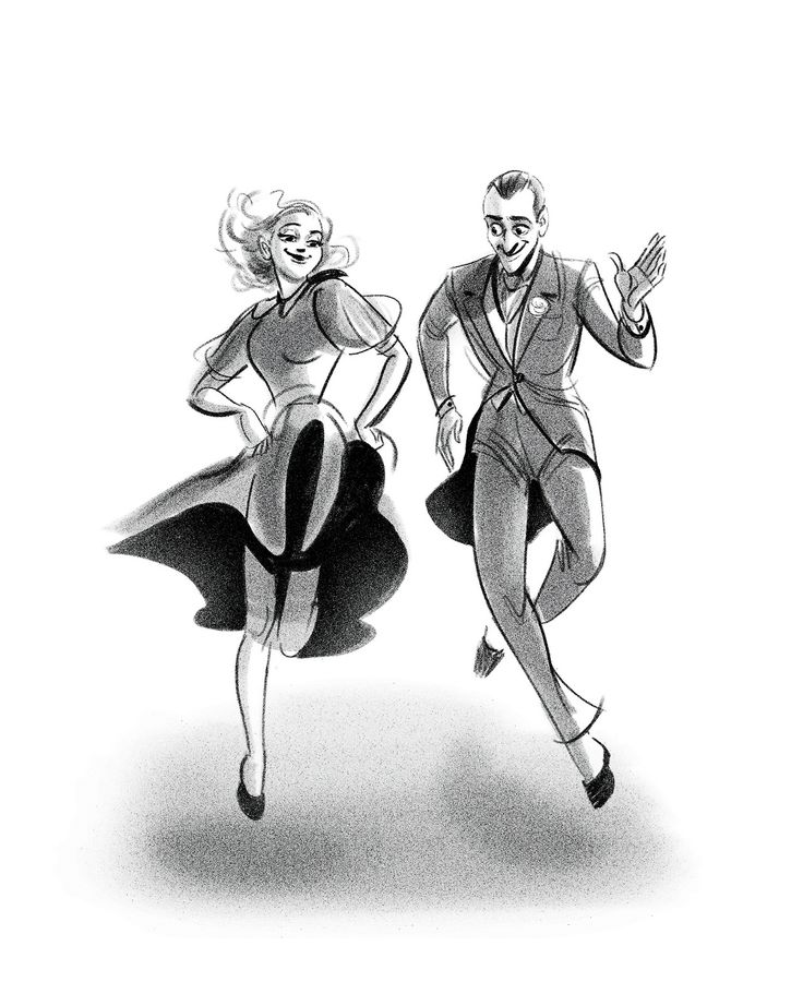 Fred Astaire and Ginger Rogers, modeled after a scene in the film 'Swing Time' - drawing by scribbledigooks
