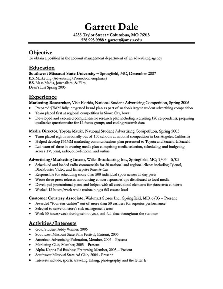 12 best resume writing images on Pinterest Sample resume, Resume - resume objective for college student examples