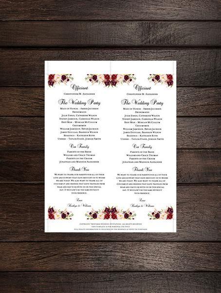 Slim Wedding Program Romantic Blossoms Floral Marsala Burgundy