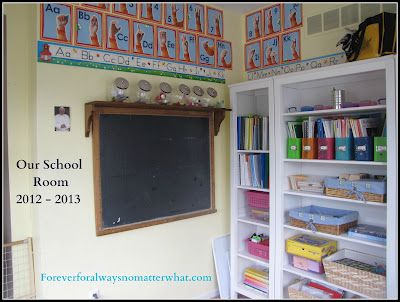 Homeschool organization ideas from Forever, For Always, No Matter What : Catholic Adoption & Home Education Blog: Our School Room 2012-2013