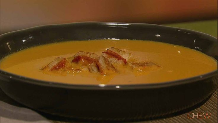 Carla Hall's Yellow Tomato Soup with Grilled Cheese Croutons recipe. #thechewGrilled Cheese