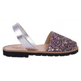Sandales fille à paillettes multicolores Minorquines