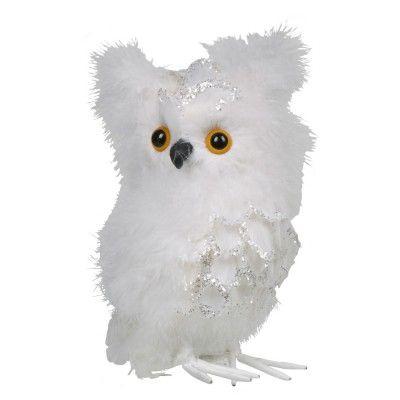 Hibou plumes blanches à poser - Décorations / accessoires - Déco de Noël | GiFi