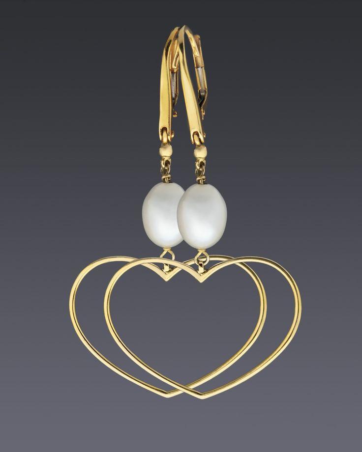 Κρεμαστά σκουλαρίκια καρδιές χρυσά Κ14 με Μαργαριτάρια