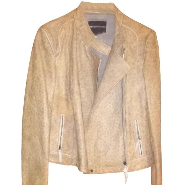 Pre-owned Emporio Armani Tan Jacket (€250) ❤ liked on Polyvore featuring outerwear, jackets, tan, real leather jackets, beige leather jacket, genuine leather biker jacket, leather jackets and vintage jackets