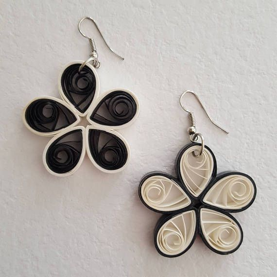 Paper quilling and white flower earrings