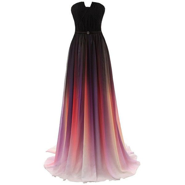 Beautiful Colorful Chiffon Bridesmaid Dresses, dress for birthday,Prom... ❤ liked on Polyvore featuring dresses, birthday party dresses, formal dresses, long party dresses, multi color prom dress and multi colored prom dresses