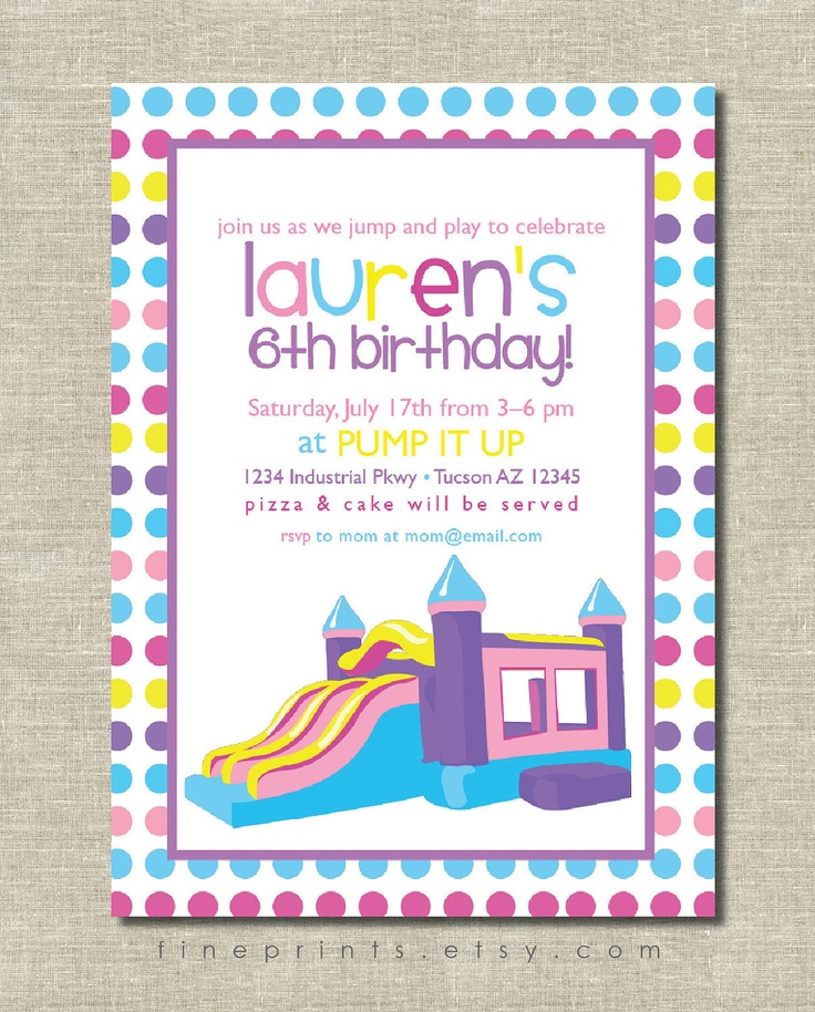 49 best Papery images – Bouncy Castle Party Invitations