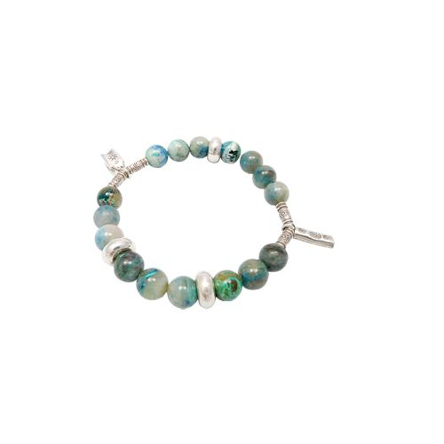 Green onyx stretch bracelet for self control in 925 sterling silver.