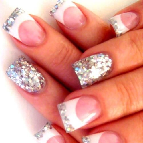 Silver French Manicure | Nailed it! | Pinterest | Nails, Nail Art and Nail designs