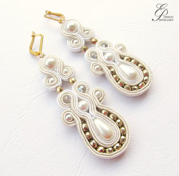 Ivory and gold soutache earrings Gold earrings by EditBeadIt, $40.00