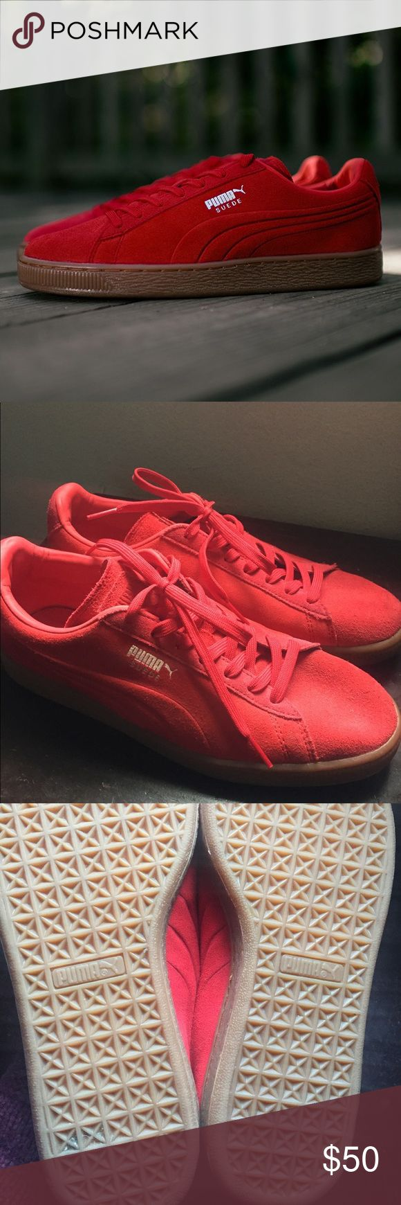 Puma Suede Eco OrthoLite Sneakers Red Puma Suede Eco OrthoLite shoes with gum sole. Worn twice. In really good condition. 8.5 in Men's/ 10 in women's. Ships fast! Puma Shoes Sneakers