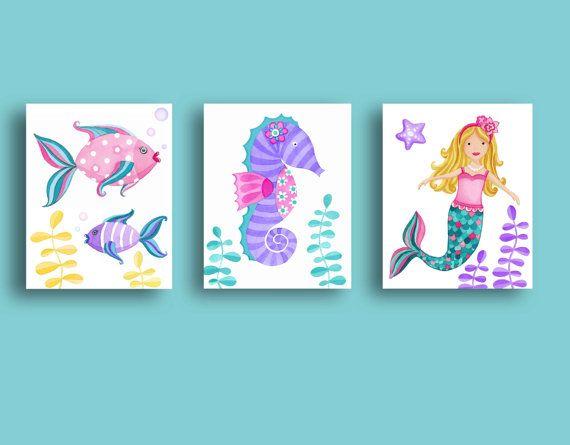 Mermaid Bathroom Kids Art Girls Bathroom Rules Teal Pink