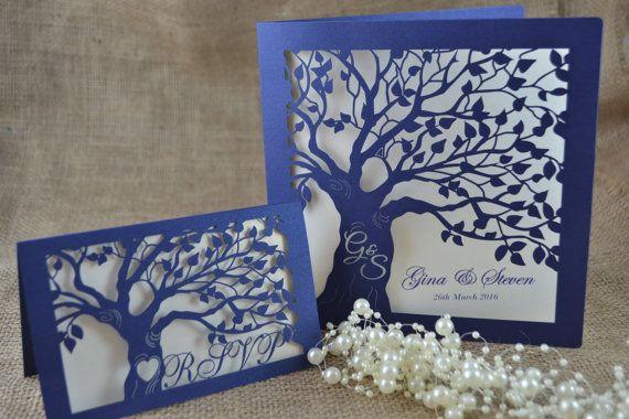 Invitación invitación de la boda rústica de por FoxfordAtelier