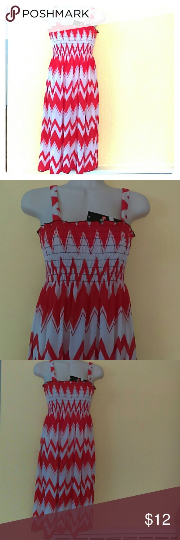 Shevron summer dress Red/white midi summer dress.  Measuring approx. 39 inches from shoulder straps to bottom.  Tag says XL but L is suitable Dresses Midi