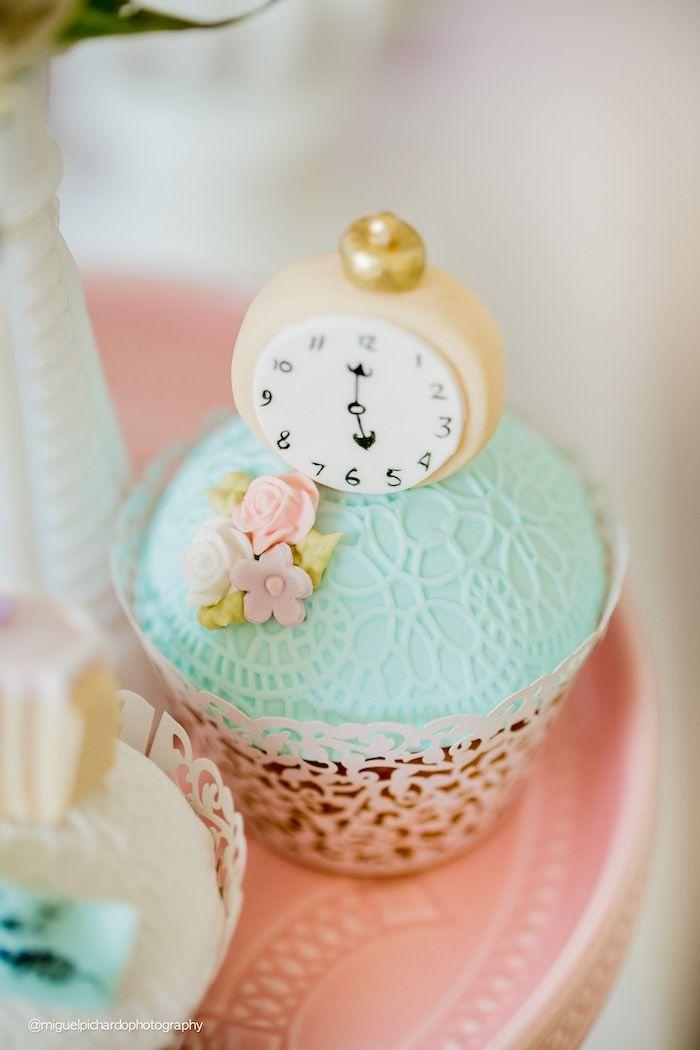 Alice in Wonderland cupcake from a Pastel Glam Alice in Wonderland Birthday Party on Kara's Party Ideas | KarasPartyIdeas.com (18)