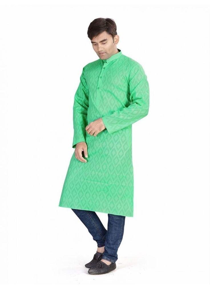 Kurta Only Pcs  - Coton Daily wear Kurta Online green