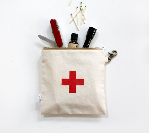 Personalized Canvas Utility Zipper Pouch- First Aid Pouch with Red Printed Swiss Cross    A great gift idea for men, women or kids. Clip with with the