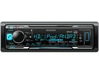Kenwood KMM-BT515HD In-Dash Receiver, Built-in Bluetooth, HD Radio, Pandora and iheart Radio Radio. Theft Deterrent Faceplate (TDF) helps protect your car audio investment. Maximum output power : 50-watt x 4 (MOSFET power IC), 22 watts RMS power. 13 digit, 1.5 line LCD display. Front Aux & USB Interface with slide protection cover. MP3, WMA, AAC, WAV, FLAC decoder with ID-3 tag display (Does not play CDs).