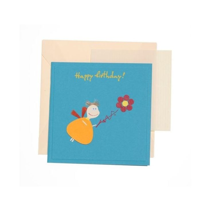 """""""Happy Birthday"""" Square Greeting Card with Chubby Angel""""Happy Birthday"""" Square Greeting Card with Chubby Angel"""
