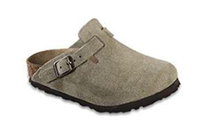 For little grandchildren feet.  Birkenstock  Taupe Suede  Boston
