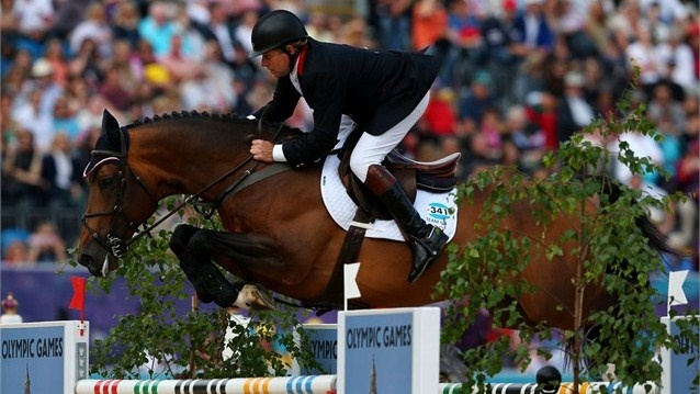 Nick Skelton of Great Britain riding Big Star competes in the 1st Qualifier of Individual Jumping on Day 8 of the London 2012 Olympic Games at Greenwich Park.