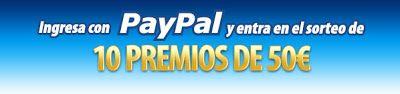 Desde botemania tenemos buenas noticias para ti, esta semana estrenamos Paypal como método de pago y para celebrarlo sortearemos 10 premios de 50 euros cada uno entre aquellos que hagan un ingreso mediante Paypal esta semana.