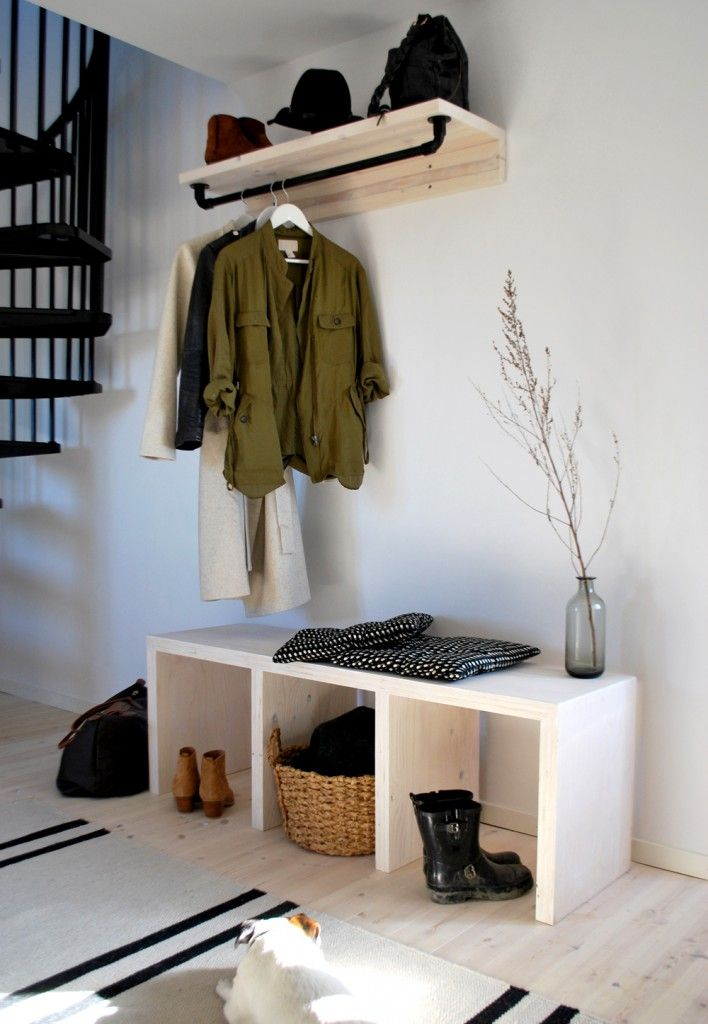 Stylish minimalist storage for a Scandinavian style entryway.