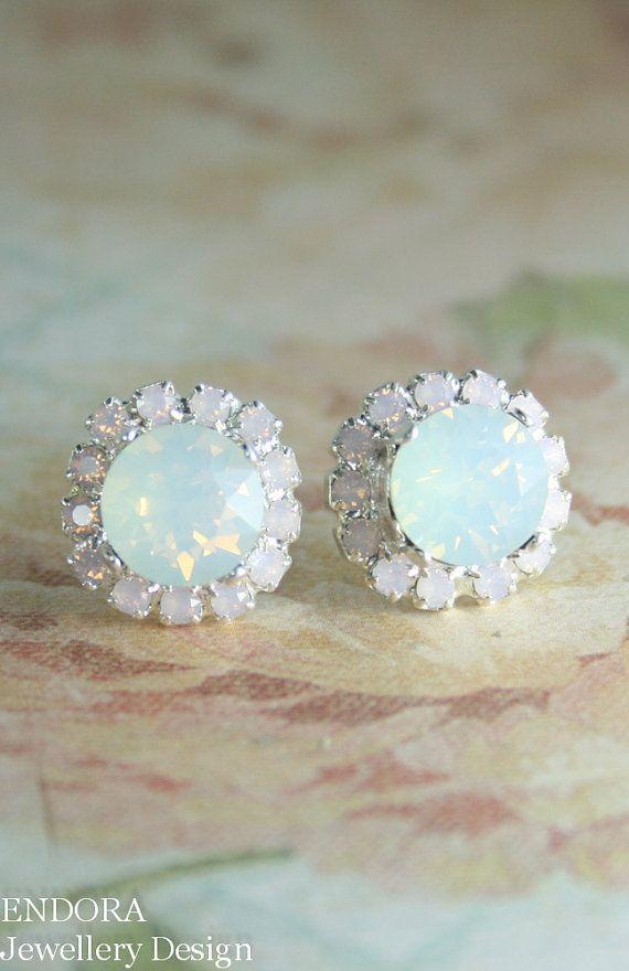 White and pink opal crystal earrings | Opal earrings | www.endorajewellery.etsy.com | opal wedding jewelry