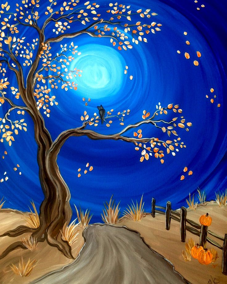 Paint Party - 'Autumn Night' one of the four season tree paintings...popular to do at my  Paint Parties!   www.cricketseye.com